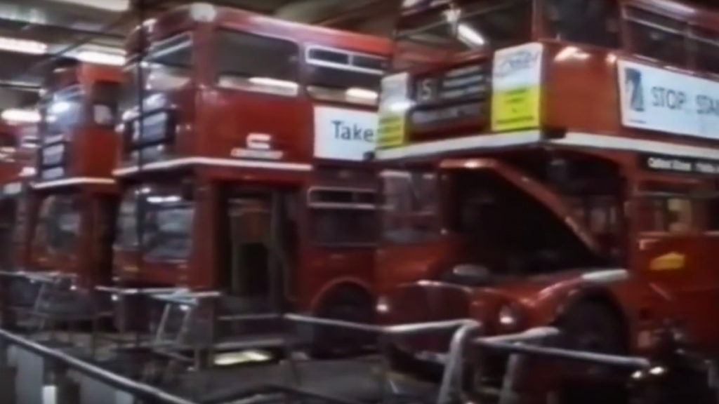"Buses at Westbourne Park - still from ""Seeing Red"" (1992)"